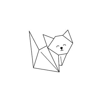 Origami cat icon in einem trendigen minimalistischen linearen stil. gefaltete papiertierfiguren. vector illustration zum erstellen von logos, mustern, tätowierungen, postern, drucken auf t-shirts