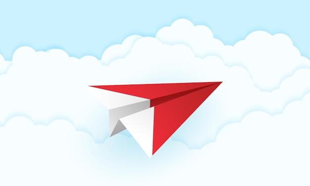 Origami-flugzeug fliegt in den himmel, papierkunststil