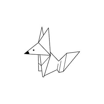 Origami fox icon in einem trendigen minimalistischen linearen stil. gefaltete papiertierfiguren. vector illustration zum erstellen von logos, mustern, tätowierungen, postern, drucken auf t-shirts