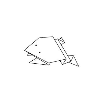 Origami frog icon in einem trendigen minimalistischen linearen stil. gefaltete papiertierfiguren. vector illustration zum erstellen von logos, mustern, tätowierungen, postern, drucken auf t-shirts