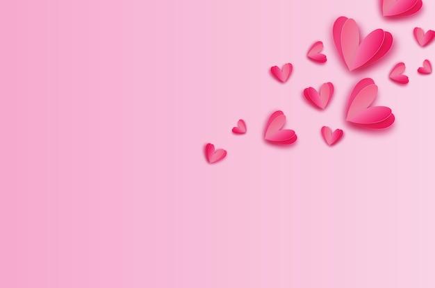 Origami glücklicher valentinstag. flying love red hearts im papierschnittstil