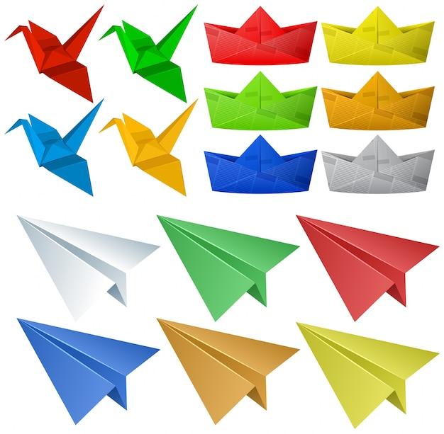 Origami handwerk mit vögeln und flugzeugen