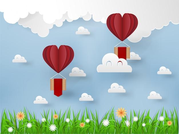 Origami heißluftballons fliegen am himmel