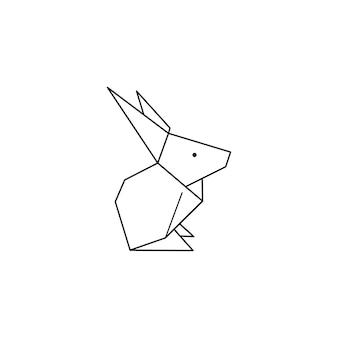 Origami-kaninchen-symbol in einem trendigen minimalistischen linearen stil. gefaltete papiertierfiguren. vector illustration zum erstellen von logos, mustern, tätowierungen, postern, drucken auf t-shirts