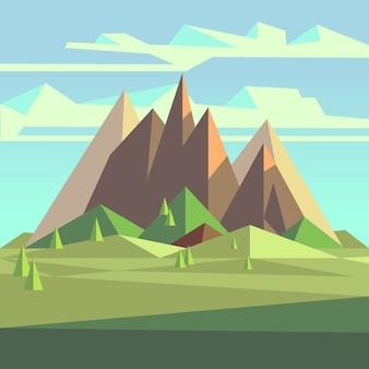 Origami-landschaft in 3d low-poly-stil mit bergen, bäumen und himmel. geometrischer berg des polygons