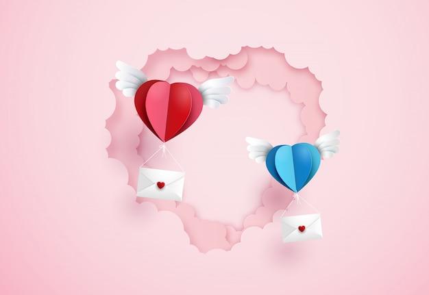 Origami machte heißluftballon und wolke