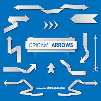 Origami-papier-pfeile-satz