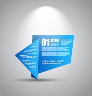Origami papier style panel mit platz für text, beleuchtet von einem strahler