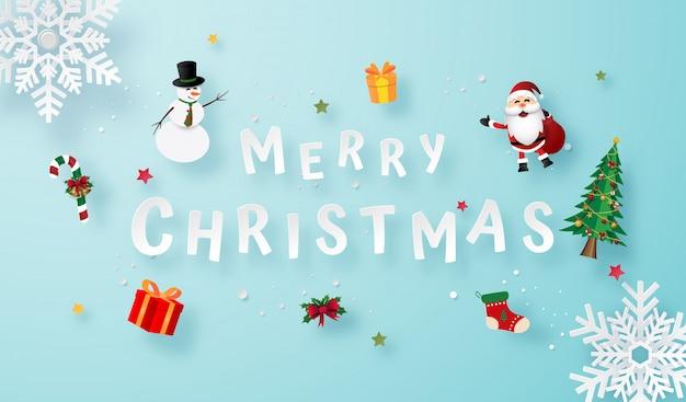 Origami papierkunst der schneeflocke mit weihnachtsgeschenken