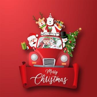 Origami-papierkunst des weihnachtscharakters mit weihnachtsauto