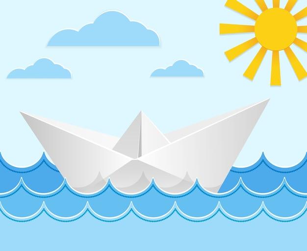 Origami-papierschiff auf ozeanwellen.
