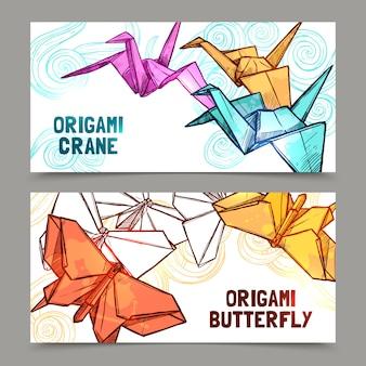 Origami schmetterlinge und kräne banner gesetzt