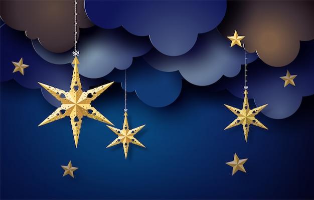 Origami-stern am himmel hängen in dunkler nacht,