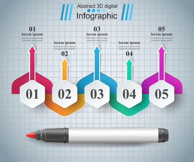 Origami stil marker 3d infografiken.