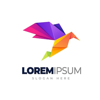 Origami vogel logo vorlage vogel farbverlauf logo