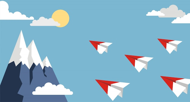 Origamipapierflugzeug auf blauem himmel, flache art