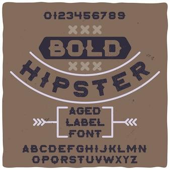 Original-etikettenschrift mit dem namen