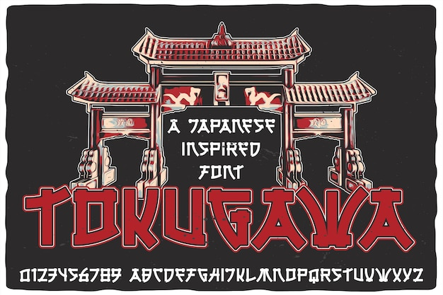 Original-etikettenschrift namens tokugawa. vintage japanische schriftart für jedes design wie poster, t-shirts, logos, etiketten usw.
