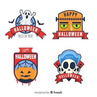 Original halloween-label-kollektion mit flachem design