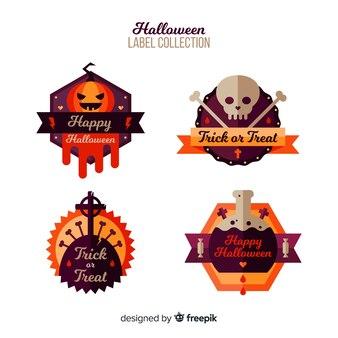 Original halloween-label-kollektion mit flachem design