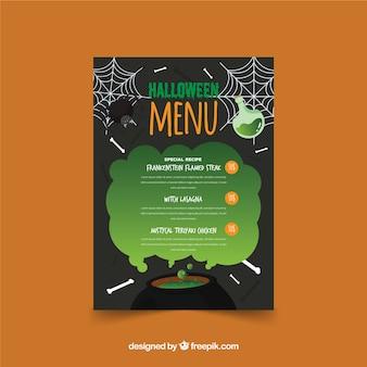 Original halloween menüvorlage mit flaches design