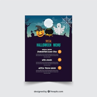 Original halloween menüvorlage mit flaches design