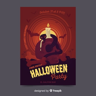 Original halloween party poster vorlage mit flachen design