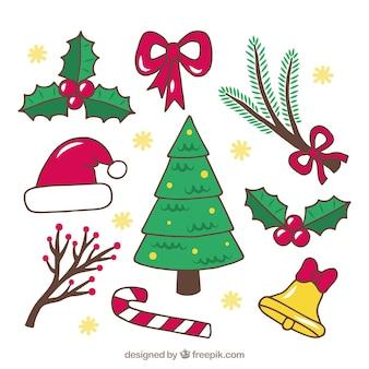 Original pack von hand gezeichnet weihnachten elemente
