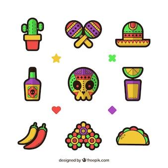 Original pack von mexikanischen elementen