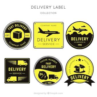 Original-set von vintage-lieferung etiketten