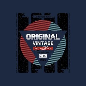 Original vintage gestreifte grafische typografie-t-shirt-designillustration premium-vektor