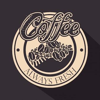 Originaler kaffeestempel mit kaffeebohnen