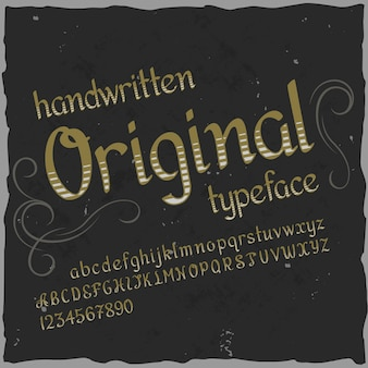 Originaletikettenschrift mit dem namen
