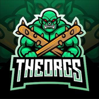Ork-maskottchen. esport logo design