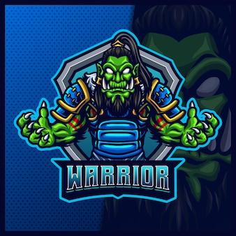 Ork-samurai-maskottchen-esport-illustrationsvorlage, ork-ritter mit axt-logo für team