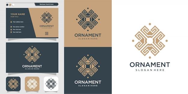 Ornament-logo mit umrissstil und visitenkartenentwurf, luxus, abstrakt, schönheit, ikone