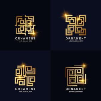 Ornament logo set kollektion. minimalistisches, abstraktes, luxuriöses, elegantes und modernes logo-schablonendesign. Premium Vektoren