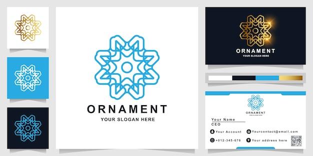 Ornament-logo-vorlage mit visitenkartenentwurf.