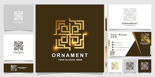 Ornament- oder windows-logo-vorlage mit visitenkartendesign.