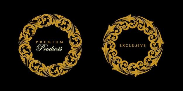 Ornament set round gold logo exklusives emblem
