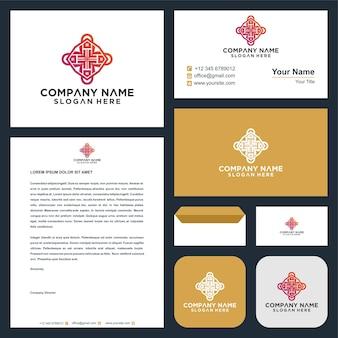 Ornament-stil-blatt-kreis-mandala-logo und visitenkarte