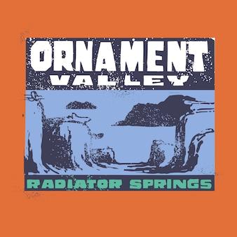 Ornament valley stempelabzeichen illustration mit klassischem vintage-design
