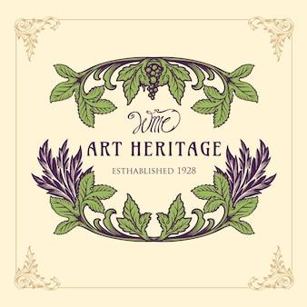 Ornament wein logo illustration gravur hintergrund