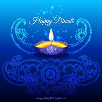 Ornamental diwali hintergrund in blauer farbe