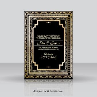 Ornamental goldenen hochzeitseinladung