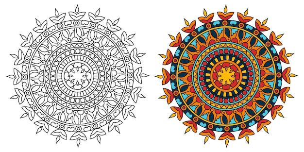 Ornamental mandala design malbuch seite entspannend