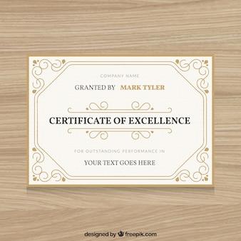 Ornamental zertifikat eines kurses