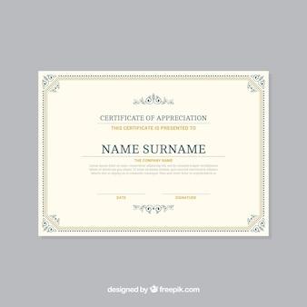 Ornamental zertifikat rahmenvorlage