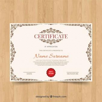 Ornamental zertifikat vorlage konzept