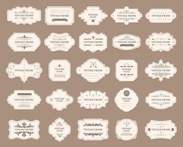 Ornamentale etikettenrahmen verziertes dekoratives vintage-abzeichen royal wedding insignia sale sticker